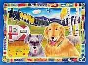 Dog Art Paintings - Happy Harv and Father Flynn by Harriet Peck Taylor