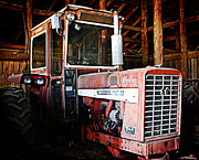 Farming Barns Framed Prints - Happy Harvestor tractor Framed Print by Marilyn Hunt