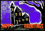 Haunted House Mixed Media Prints - Happy Hauntings Print by Jame Hayes