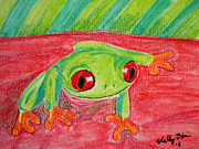 Frog Mixed Media Originals - Happy Hello by Shelley Blair