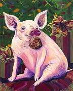 Piglet Paintings - Happy Hogidays by Shawna Elliott
