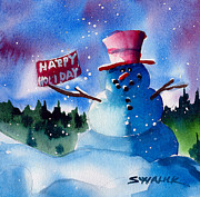 Snow Scene Mixed Media Prints - Happy Holiday Print by Ray Swaluk
