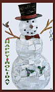 Season For Blessings Card Posters - Happy Holiday Snowman Poster by Debra     Vatalaro