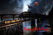 Benicia Martinez Bridge Posters - Happy Holidays - Once Upon A Time In The Story Book Town of Benicia California - 5D18849 Poster by Wingsdomain Art and Photography