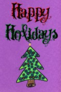 Happy Holidays Framed Prints - Happy Holidays purple Framed Print by Mandy Shupp