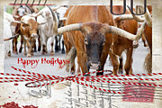 Original Cowboy Posters - Happy Holidays Poster by Toni Hopper