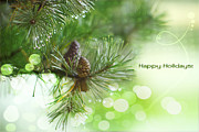 Pine Cone Framed Prints - Happy Holidays Too Framed Print by Rebecca Cozart