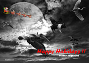 Pig Posters - Happy Holidays . Winter Migration . bw Poster by Wingsdomain Art and Photography