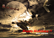 Pig Photo Posters - Happy Holidays . Winter Migration Poster by Wingsdomain Art and Photography
