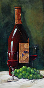 Red Wine Bottle Painting Posters - Happy Hour  Poster by Mary DuCharme
