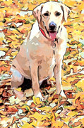 Dog Prints Digital Art - Happy in Autumn by Nadia Sanowar