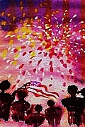 4th July Paintings - Happy July 4th USA by Anna Lewis