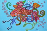 Claudia Posters - happy Koi Poster by Claudia Tuli