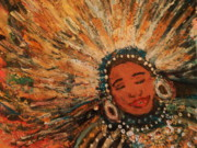 Mardi Gras Paintings - Happy Mardi Gras Woman with Feathers II by Anne-Elizabeth Whiteway