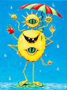 Cartoon Alien Eating Posters - Happy monster in the rain Poster by Melle Varoy