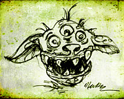 Green Monster Drawings - Happy Monster  by Nada Meeks