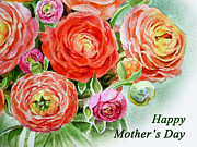 Ranunculus Paintings - Happy Mothers Day Card by Irina Sztukowski