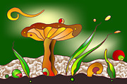 Clearing Mixed Media - Happy Mushroom by Wolfgang Karl