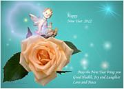 Joyce Dickens - Happy New Year Cherub and Peach Rose