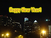 Happy New Year Greeting Card - Philadelphia At Night Print by Mother Nature