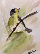 Warbler Paintings - Happy Perch by Trilby Cole