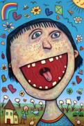 Art Brut Framed Prints - Happy Pill Framed Print by James W Johnson