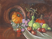 Pumpkins Paintings - Happy Pumpkins and Gourds by Peg Ott Mcguckin