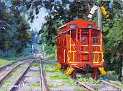 Old Caboose Painting Posters - Happy Rails Poster by L Diane Johnson