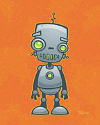 Cute Cartoon Art - Happy Robot by John Schwegel