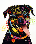 Dean Russo Art Mixed Media Posters - Happy Rottweiler Poster by Dean Russo