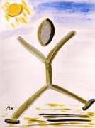Primitive Drawings - Happy Runner Sunny Day by Mary Carol Williams