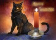 Samhain Digital Art - Happy Samhain Kitten and Candle by Melissa A Benson