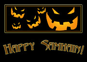 Samhain Digital Art - Happy Samhain Pumpkins by Melissa A Benson