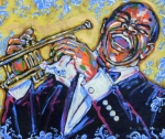 Louis Paintings - Happy Satchmo by Tami Curtis Ellis