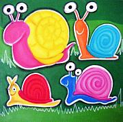 Hanging Pastels Originals - hAPPY sNAILS by Mara Morea