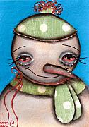 Paiting Metal Prints - Happy Snow Man Metal Print by  Abril Andrade Griffith