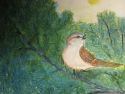Singing Mixed Media Originals - Happy Sparrow by Robert Reily