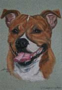 Staffie Posters - Happy Staffie Poster by Susan Herber