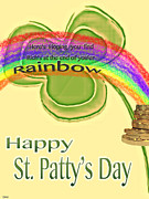 Patricks Day Card Framed Prints - Happy St.pattys Day Rainbow Framed Print by Debra     Vatalaro