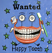 Printed Mixed Media Posters - Happy Teeth Poster by Anthony Falbo