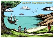 Mayflower Mixed Media Framed Prints - Happy Thanksgiving Framed Print by James Sayer