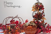 Fall Holiday Card Posters - Happy Thanksgiving Poster by Sherry Hallemeier