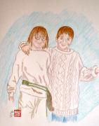 People Drawings - Happy Times by Arlene  Wright-Correll