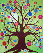 Modern Folk Art Paintings - Happy Tree by Karla Gerard