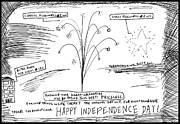 4th July Drawings Originals - Happy U.S. In Dependence Day by Yasha Harari