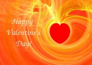 Happy Valentine Day Fractal Design Greeting Card Print by Yali Shi