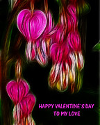 Bleeding Hearts Prints - Happy Valentines Day Greeting Card Print by Paul Ward