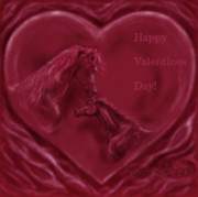 Equestrian Artist Digital Art - Happy Valentines Horses by Nancy Degan