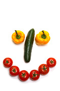 Tomatoes Metal Prints - Happy Veggie Face Metal Print by Olivier Le Queinec