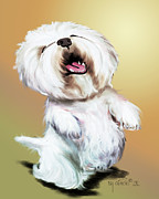 Catia Mixed Media Framed Prints - Happy Westie Framed Print by Catia Cho
